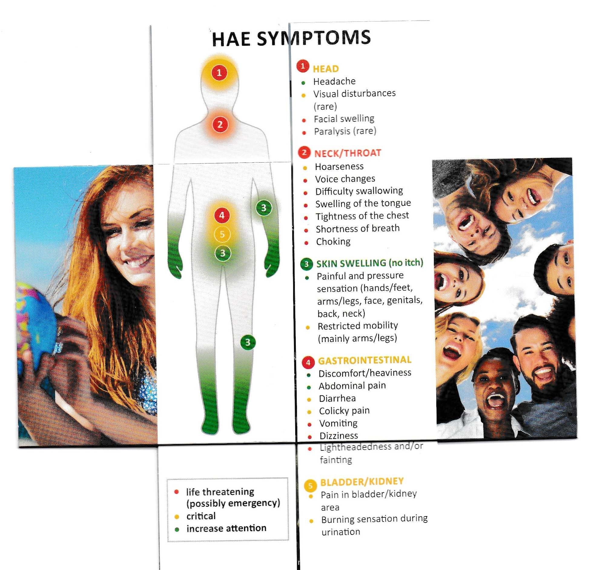 Overview of symptoms for diagnosis of an HAE attack with colour coded indicators of severity