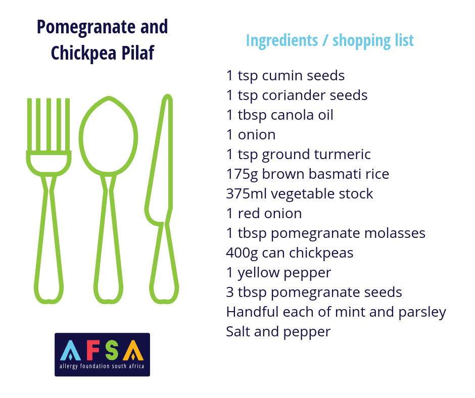 Recipe Card Pomegranate and Chickpea Pilaf AFSA