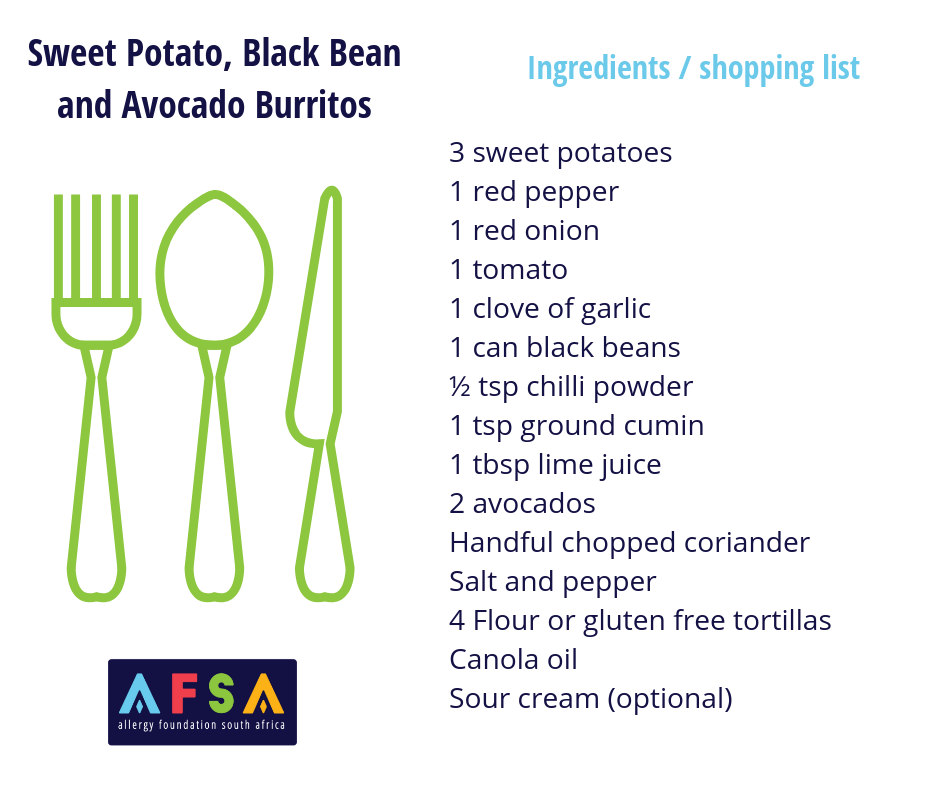 AFSA Ingredients List Sweet Potato, Black Bean and Avo Burritos